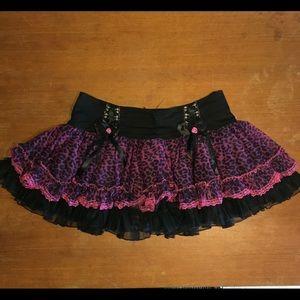 Tripp NYC Black Skirt with Purple Leopard Print